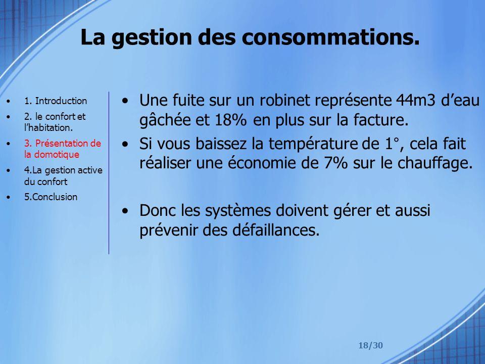 18/30 La gestion des consommations. Une fuite sur un robinet représente 44m3 deau gâchée et 18% en plus sur la facture. Si vous baissez la température