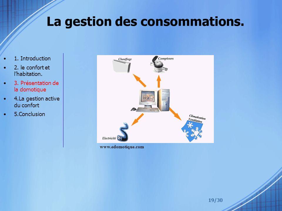 19/30 La gestion des consommations. 1. Introduction 2. le confort et lhabitation. 3. Présentation de la domotique 4.La gestion active du confort 5.Con