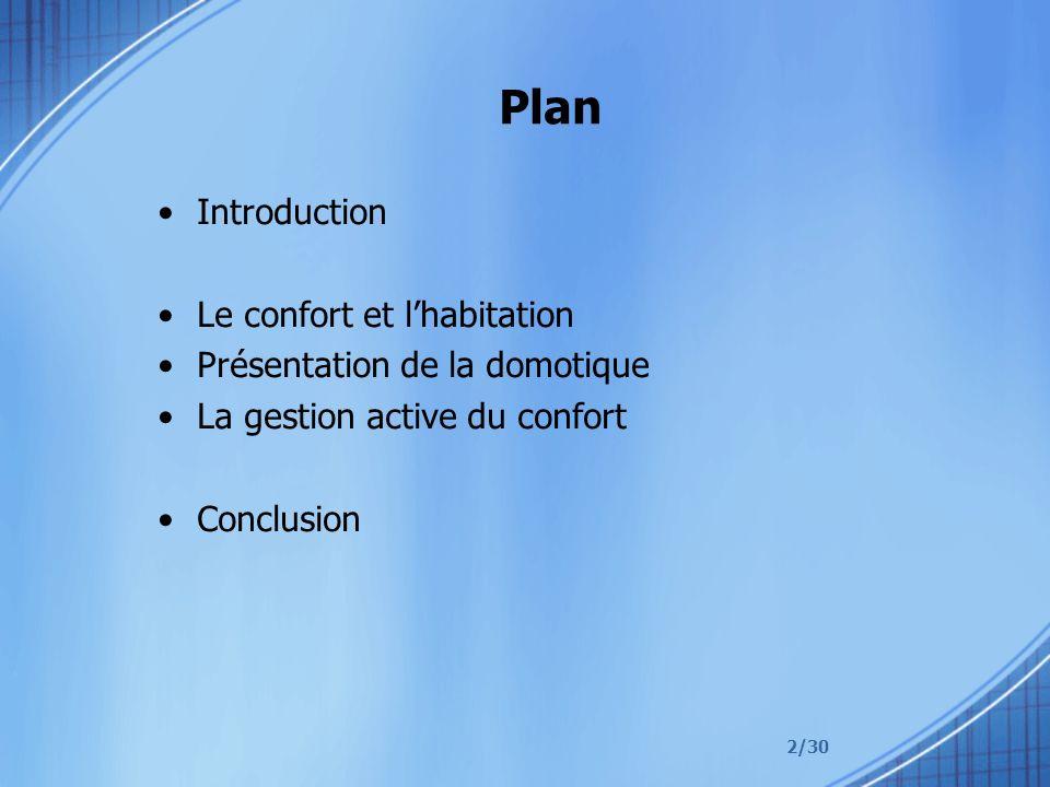 2/30 Plan Introduction Le confort et lhabitation Présentation de la domotique La gestion active du confort Conclusion