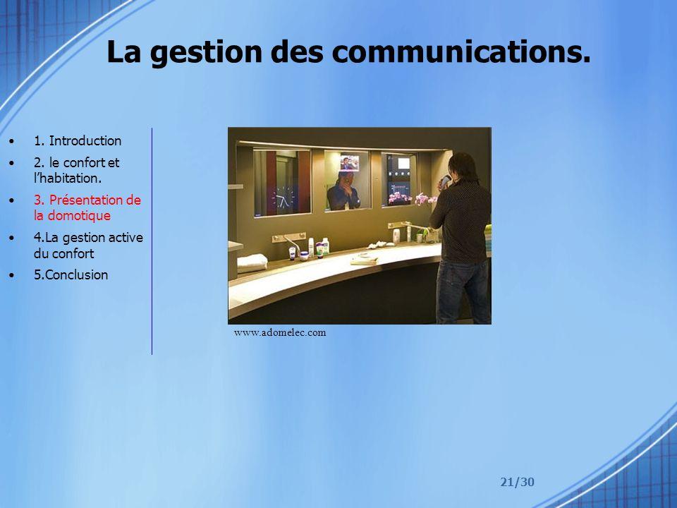 21/30 La gestion des communications. 1. Introduction 2. le confort et lhabitation. 3. Présentation de la domotique 4.La gestion active du confort 5.Co