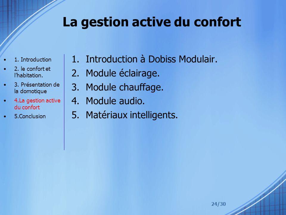 24/30 La gestion active du confort 1.Introduction à Dobiss Modulair. 2.Module éclairage. 3.Module chauffage. 4.Module audio. 5.Matériaux intelligents.
