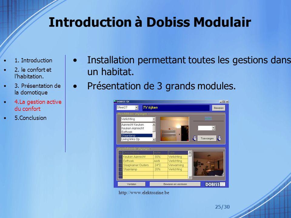 25/30 Introduction à Dobiss Modulair Installation permettant toutes les gestions dans un habitat.