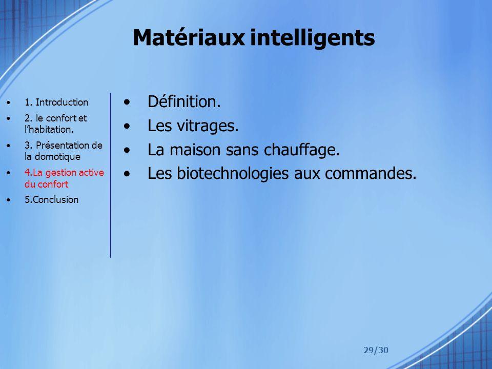 29/30 Matériaux intelligents Définition.Les vitrages.