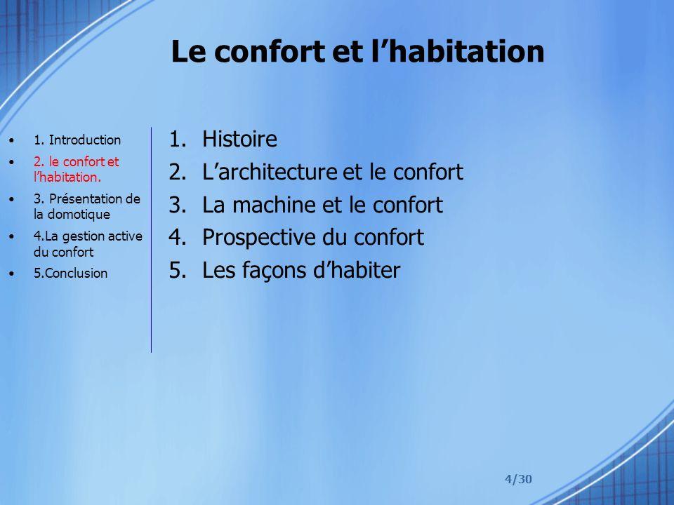 4/30 Le confort et lhabitation 1.Histoire 2.Larchitecture et le confort 3.La machine et le confort 4.Prospective du confort 5.Les façons dhabiter 1.