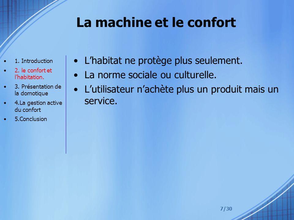 7/30 La machine et le confort Lhabitat ne protège plus seulement. La norme sociale ou culturelle. Lutilisateur nachète plus un produit mais un service