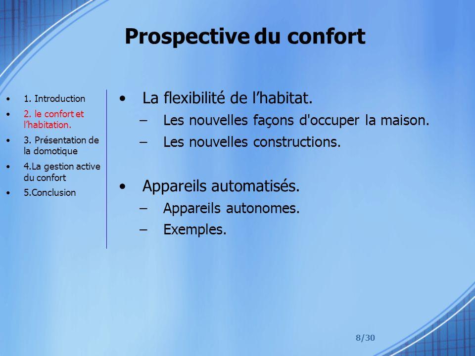 8/30 Prospective du confort La flexibilité de lhabitat. –Les nouvelles façons d'occuper la maison. –Les nouvelles constructions. Appareils automatisés