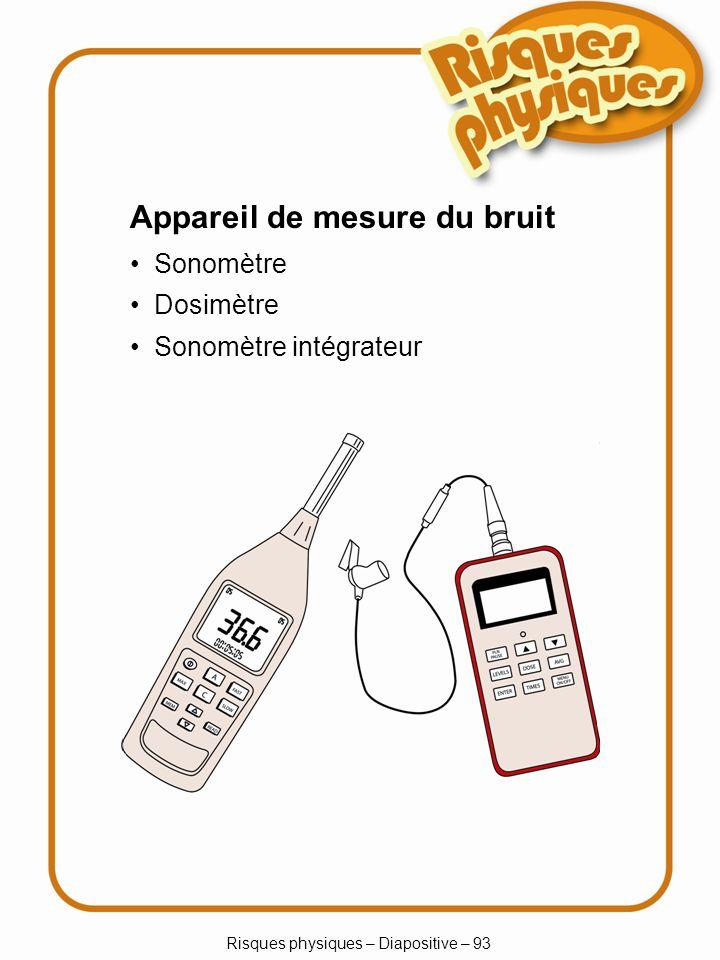 Risques physiques – Diapositive – 93 Appareil de mesure du bruit Sonomètre Dosimètre Sonomètre intégrateur