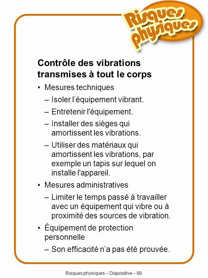 Risques physiques – Diapositive – 99 –Limiter le temps passé à travailler avec un équipement qui vibre ou à proximité des sources de vibration. Contrô