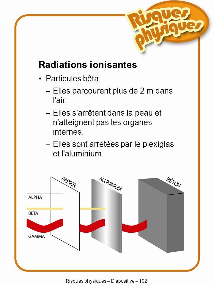 Risques physiques – Diapositive – 102 Radiations ionisantes Particules bêta –Elles parcourent plus de 2 m dans l'air. –Elles s'arrêtent dans la peau e