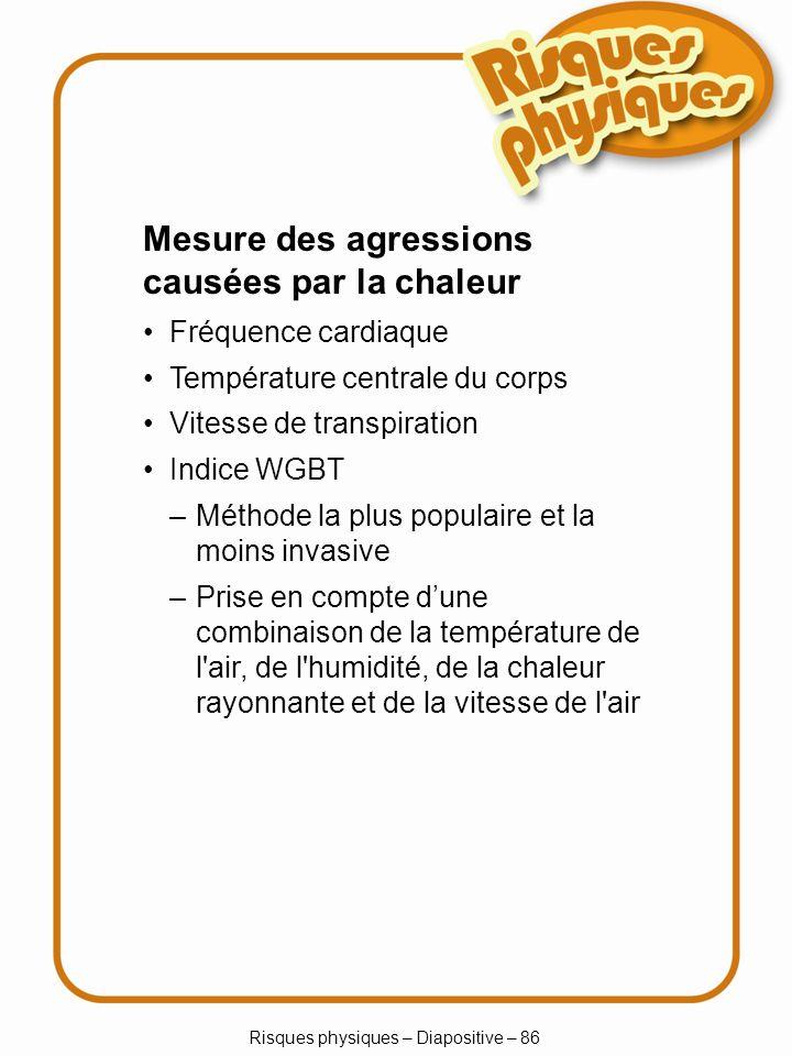 Risques physiques – Diapositive – 86 –Méthode la plus populaire et la moins invasive –Prise en compte dune combinaison de la température de l'air, de