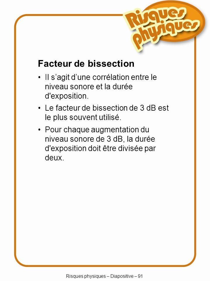Risques physiques – Diapositive – 91 Facteur de bissection Il sagit dune corrélation entre le niveau sonore et la durée d'exposition. Le facteur de bi