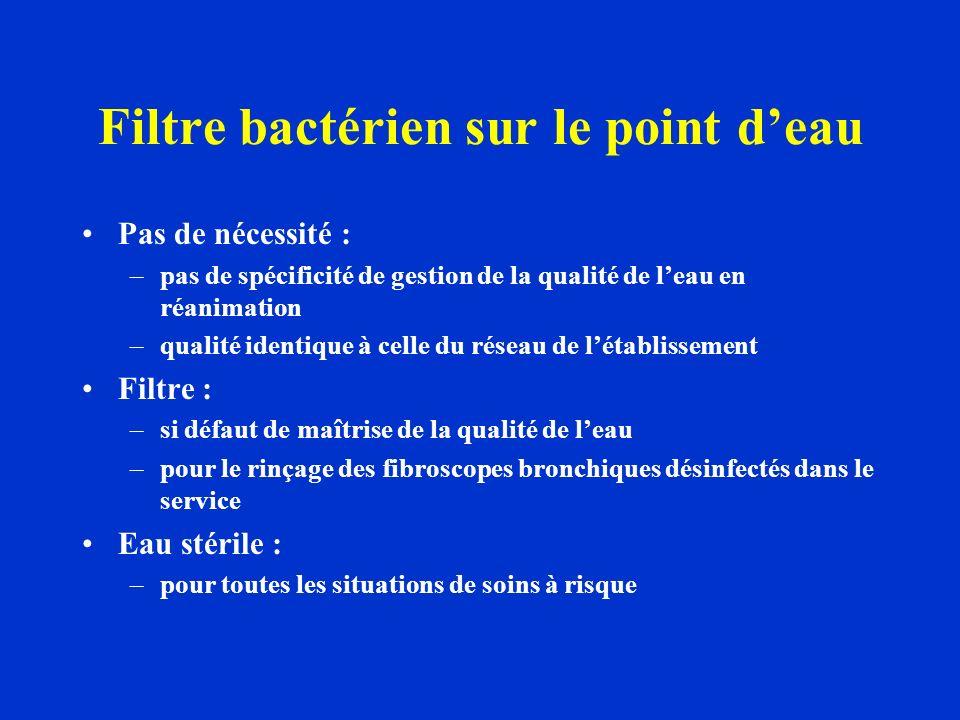 Filtre bactérien sur le point deau Pas de nécessité : –pas de spécificité de gestion de la qualité de leau en réanimation –qualité identique à celle d