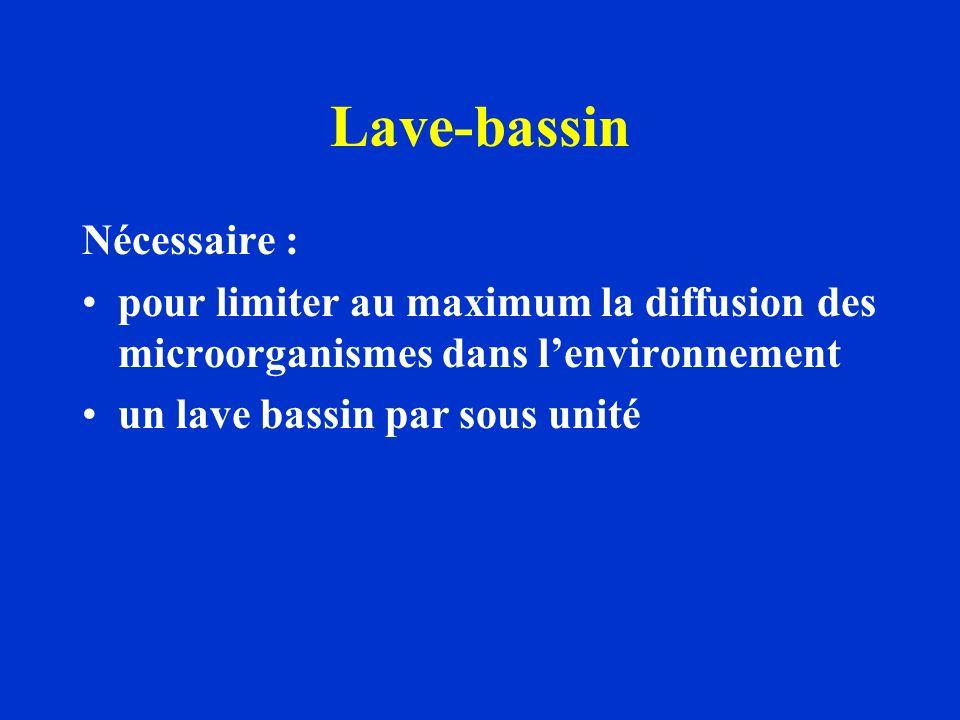 Lave-bassin Nécessaire : pour limiter au maximum la diffusion des microorganismes dans lenvironnement un lave bassin par sous unité