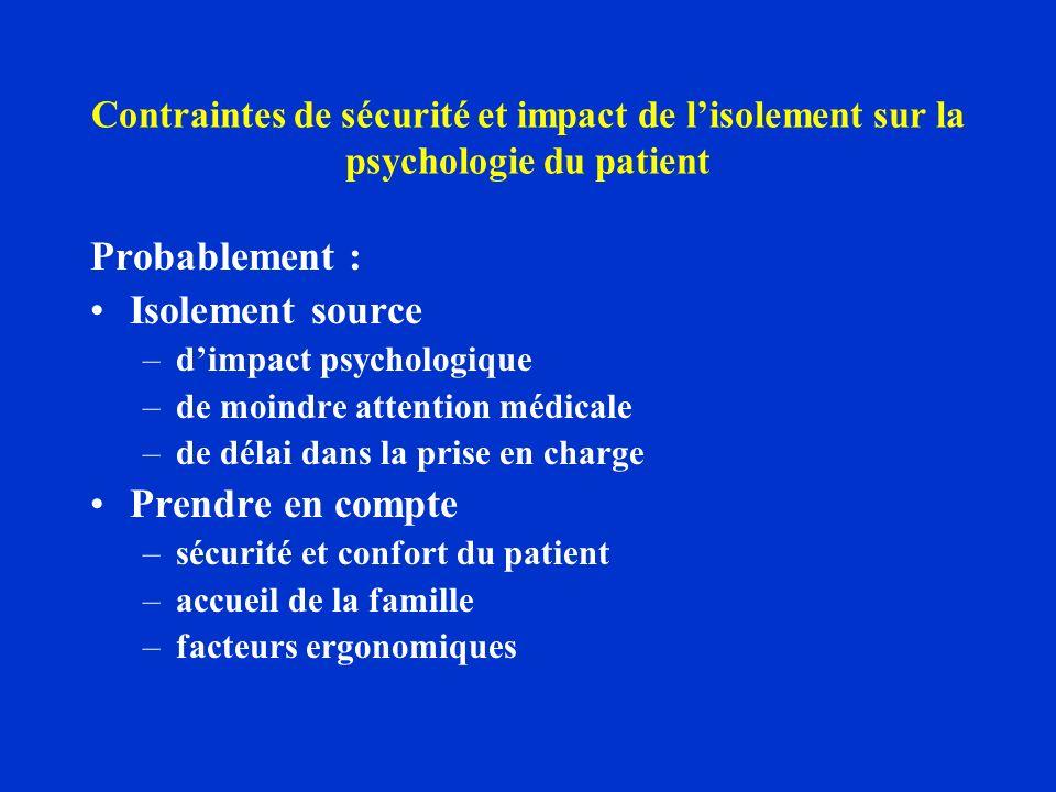 Contraintes de sécurité et impact de lisolement sur la psychologie du patient Probablement : Isolement source –dimpact psychologique –de moindre atten