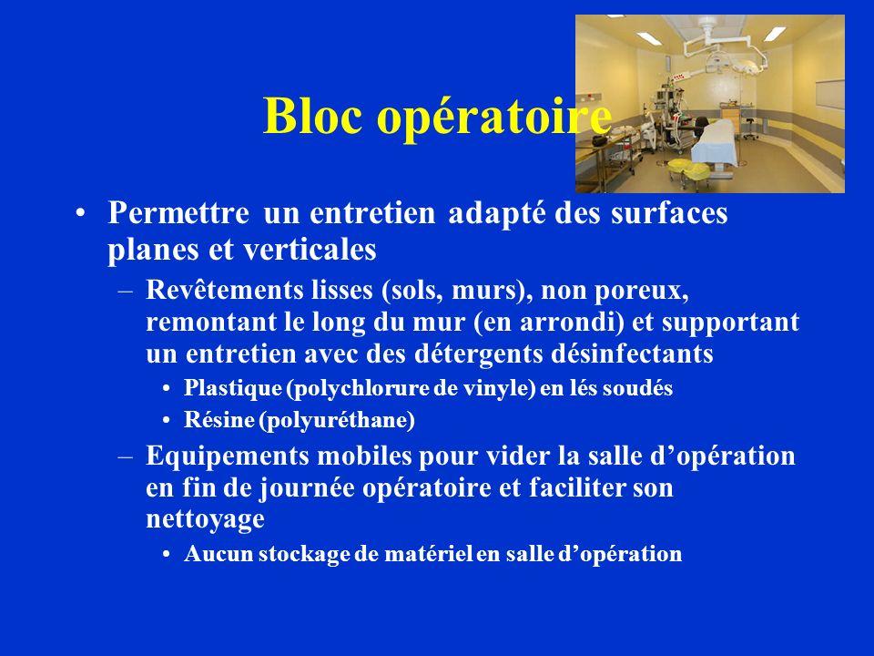 Bloc opératoire Permettre un entretien adapté des surfaces planes et verticales –Revêtements lisses (sols, murs), non poreux, remontant le long du mur