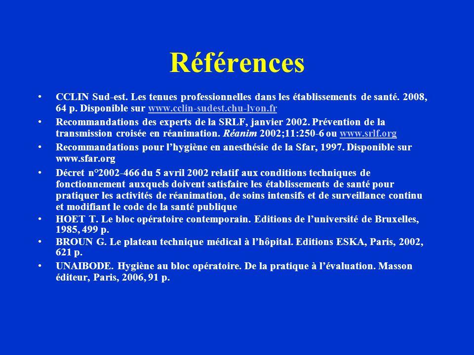 Références CCLIN Sud-est. Les tenues professionnelles dans les établissements de santé. 2008, 64 p. Disponible sur www.cclin-sudest.chu-lyon.frwww.ccl