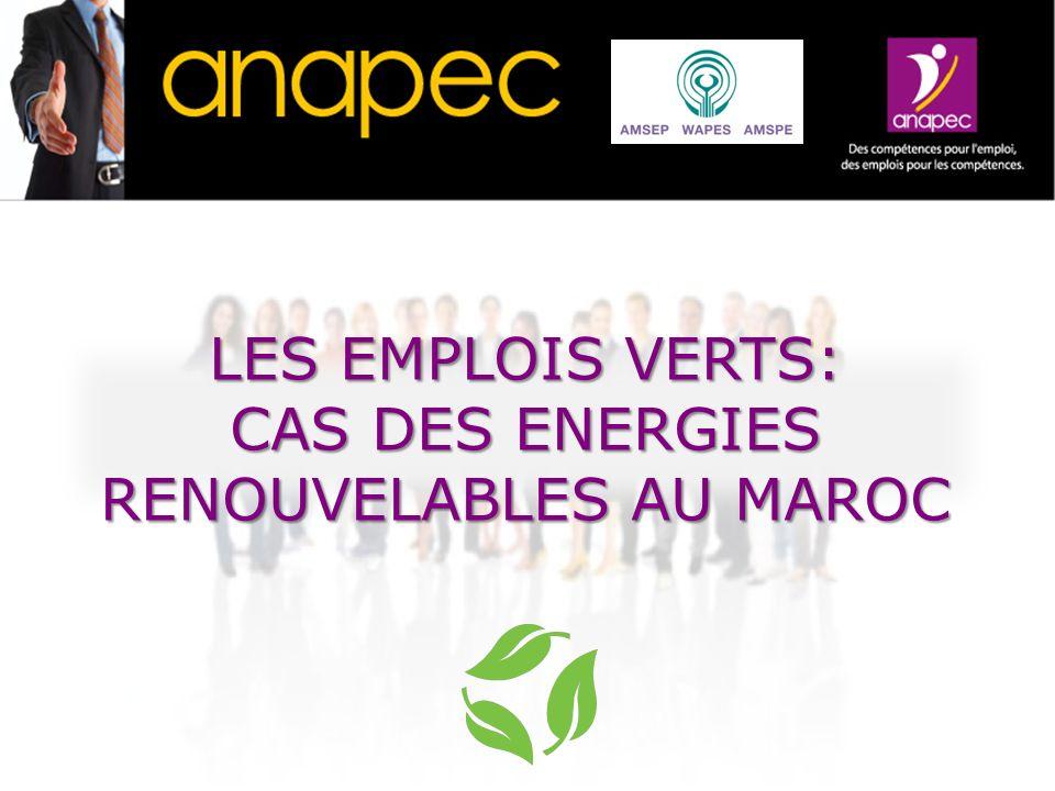 anapec I.Stratégie du Maroc en matière dénergies renouvelables; II.Impact du programme des énergies renouvelables III.Accompagnement par le SPE des entreprises du secteur des énergies renouvelables; IV.Mise en place dun dispositif spécifique daccompagnement du secteur des énergies renouvelables en matière des Ressources humaines.