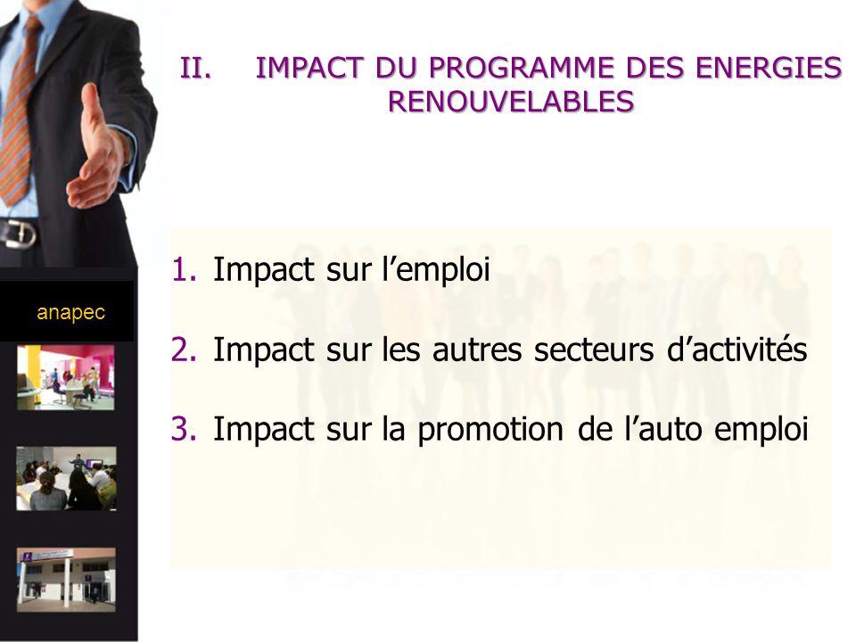 anapec 1.Impact sur lemploi 2.Impact sur les autres secteurs dactivités 3.Impact sur la promotion de lauto emploi II.IMPACT DU PROGRAMME DES ENERGIES