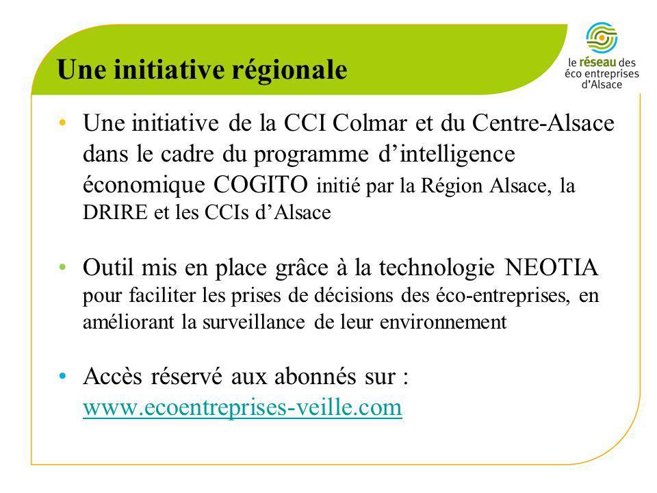 Une initiative régionale Une initiative de la CCI Colmar et du Centre-Alsace dans le cadre du programme dintelligence économique COGITO initié par la Région Alsace, la DRIRE et les CCIs dAlsace Outil mis en place grâce à la technologie NEOTIA pour faciliter les prises de décisions des éco-entreprises, en améliorant la surveillance de leur environnement Accès réservé aux abonnés sur : www.ecoentreprises-veille.com www.ecoentreprises-veille.com