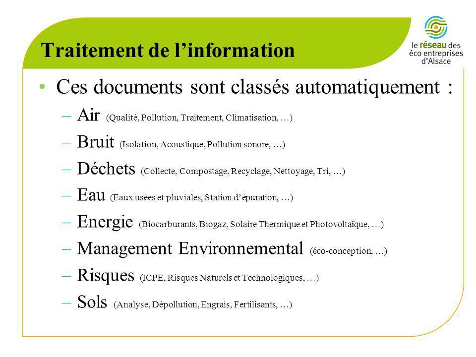 Traitement de linformation Ces documents sont classés automatiquement : –Air (Qualité, Pollution, Traitement, Climatisation, …) –Bruit (Isolation, Acoustique, Pollution sonore, …) –Déchets (Collecte, Compostage, Recyclage, Nettoyage, Tri, …) –Eau (Eaux usées et pluviales, Station dépuration, …) –Energie (Biocarburants, Biogaz, Solaire Thermique et Photovoltaïque, …) –Management Environnemental (éco-conception, …) –Risques (ICPE, Risques Naturels et Technologiques, …) –Sols (Analyse, Dépollution, Engrais, Fertilisants, …)