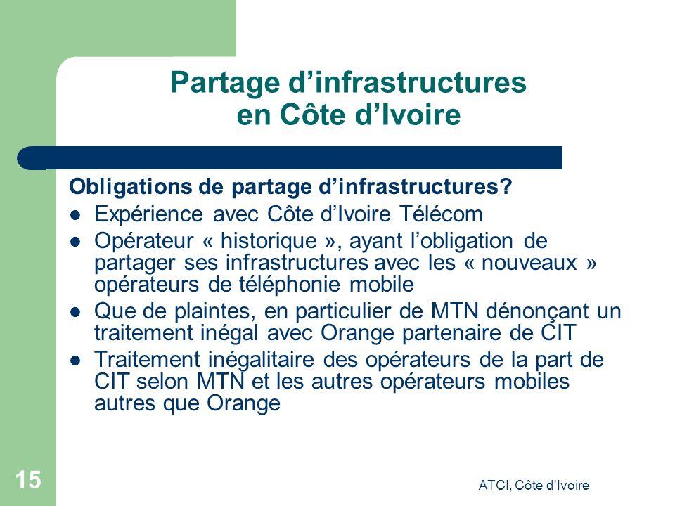 ATCI, Côte d Ivoire 15 Partage dinfrastructures en Côte dIvoire Obligations de partage dinfrastructures.