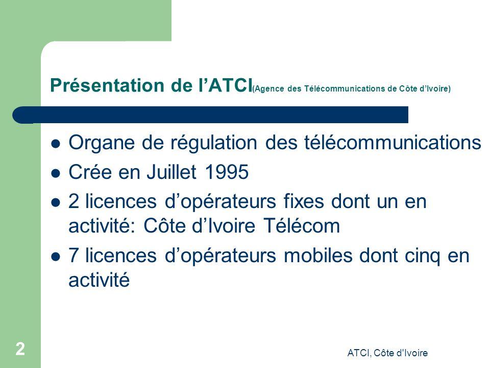 ATCI, Côte d Ivoire 2 Présentation de lATCI (Agence des Télécommunications de Côte dIvoire) Organe de régulation des télécommunications Crée en Juillet 1995 2 licences dopérateurs fixes dont un en activité: Côte dIvoire Télécom 7 licences dopérateurs mobiles dont cinq en activité