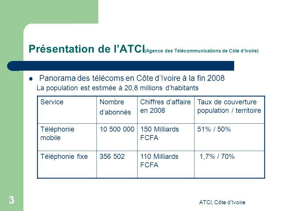 ATCI, Côte d Ivoire 3 Présentation de lATCI (Agence des Télécommunications de Côte dIvoire) Panorama des télécoms en Côte dIvoire à la fin 2008 La population est estimée à 20,8 millions dhabitants ServiceNombre dabonnés Chiffres daffaire en 2008 Taux de couverture population / territoire Téléphonie mobile 10 500 000150 Milliards FCFA 51% / 50% Téléphonie fixe356 502110 Milliards FCFA 1,7% / 70%