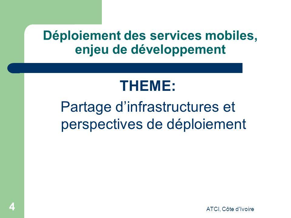 ATCI, Côte d Ivoire 44 Déploiement des services mobiles, enjeu de développement THEME: Partage dinfrastructures et perspectives de déploiement
