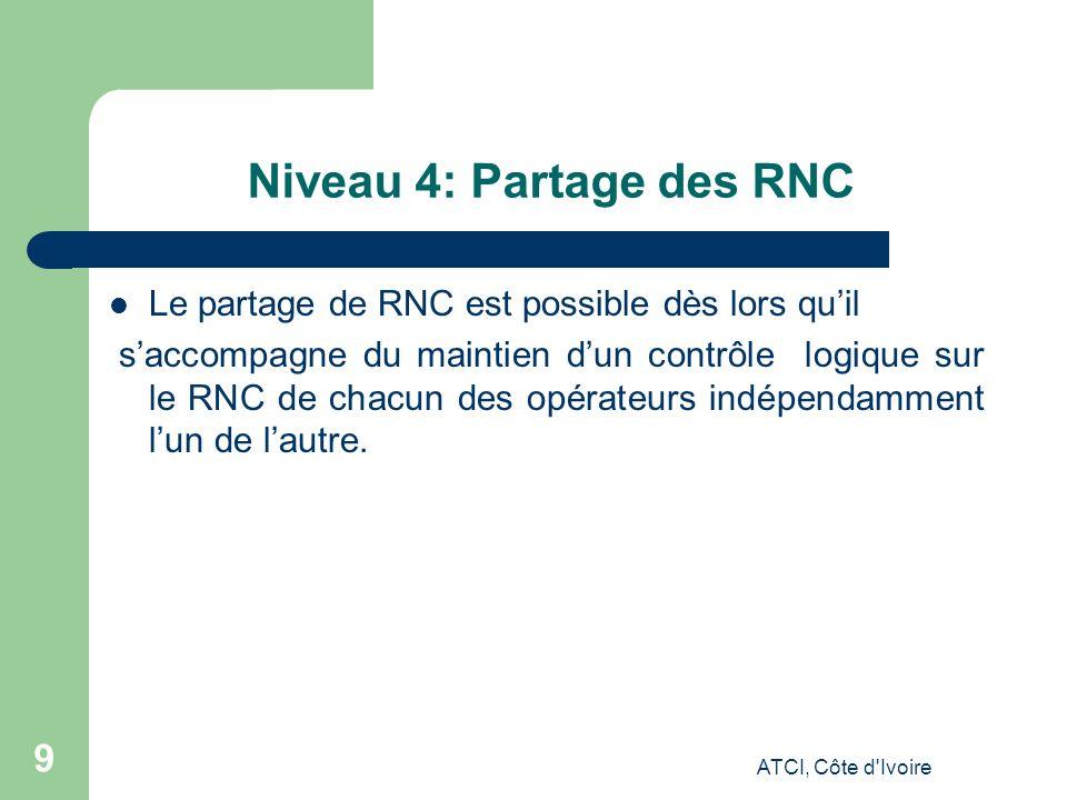 ATCI, Côte d Ivoire 9 Niveau 4: Partage des RNC Le partage de RNC est possible dès lors quil saccompagne du maintien dun contrôle logique sur le RNC de chacun des opérateurs indépendamment lun de lautre.