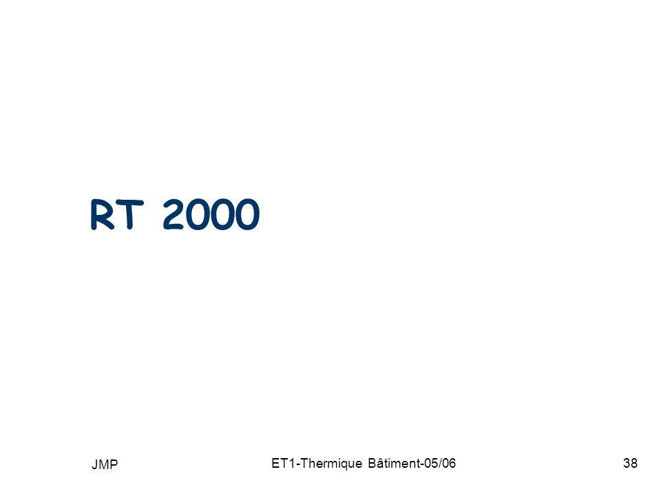 JMP ET1-Thermique Bâtiment-05/0638 RT 2000