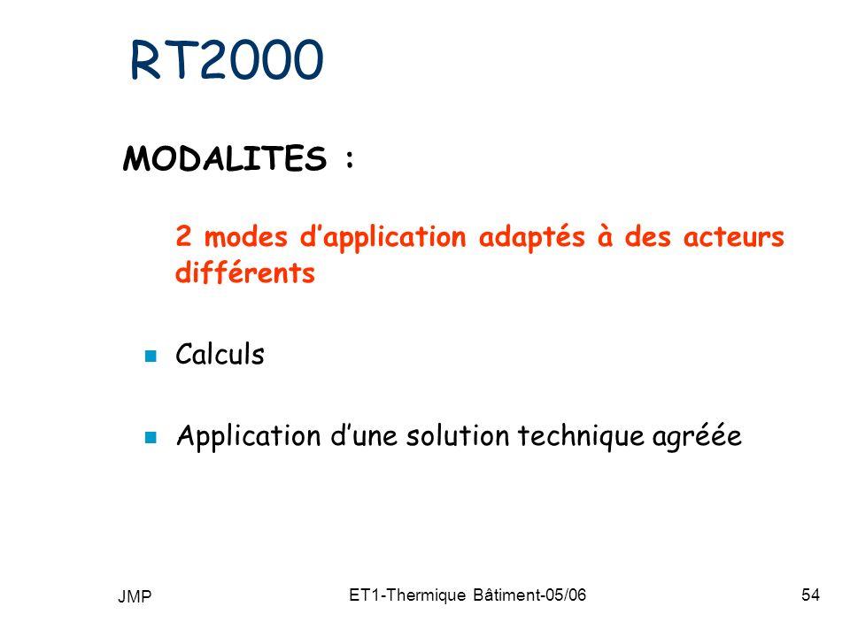 JMP ET1-Thermique Bâtiment-05/0654 RT2000 MODALITES : 2 modes dapplication adaptés à des acteurs différents n Calculs n Application dune solution technique agréée