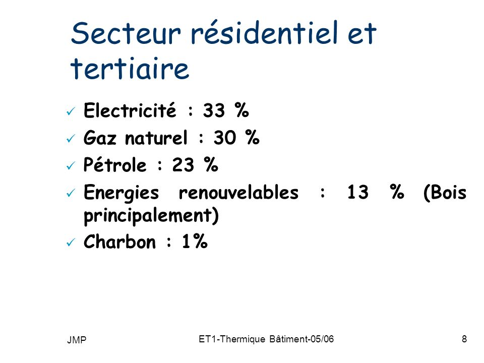 JMP ET1-Thermique Bâtiment-05/0659 RT2000 Avant / Après : Isolation de référence indépendante de lénergie n Calcul par bâtiment pour tous les secteurs n Coefficient Ubât pour tous les secteurs Coefficient Ubât : simple étape de calcul du coefficient C Isolation de référence fonction de lénergie n Calcul par logement (résidentiel) ou par bâtiment (tertiaire) n Coefficients GV (résidentiel) ou G1 (tertiaire) n Coefficients GV ou G1 : exigence réglementaire RT 2000RT 88