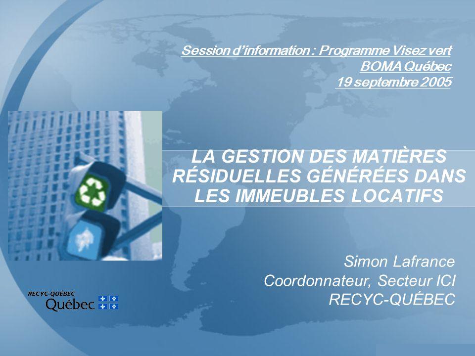 Session dinformation : Programme Visez vert BOMA Québec 19 septembre 2005 LA GESTION DES MATIÈRES RÉSIDUELLES GÉNÉRÉES DANS LES IMMEUBLES LOCATIFS Simon Lafrance Coordonnateur, Secteur ICI RECYC-QUÉBEC
