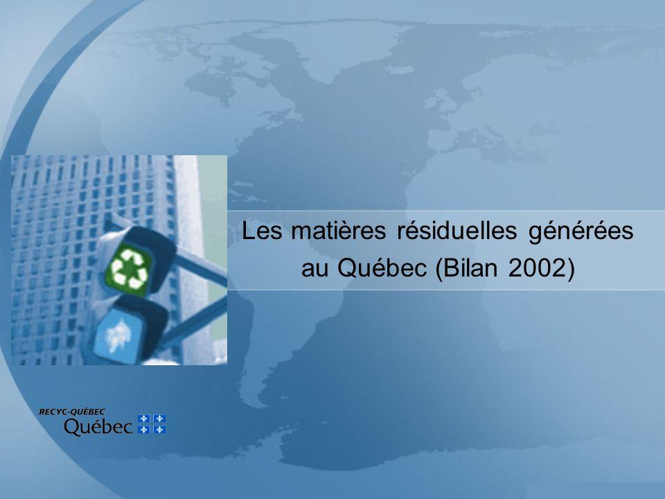 Les matières résiduelles générées au Québec (Bilan 2002)