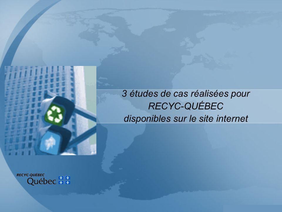 3 études de cas réalisées pour RECYC-QUÉBEC disponibles sur le site internet