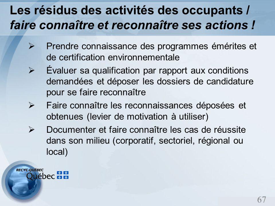 67 Les résidus des activités des occupants / faire connaître et reconnaître ses actions .