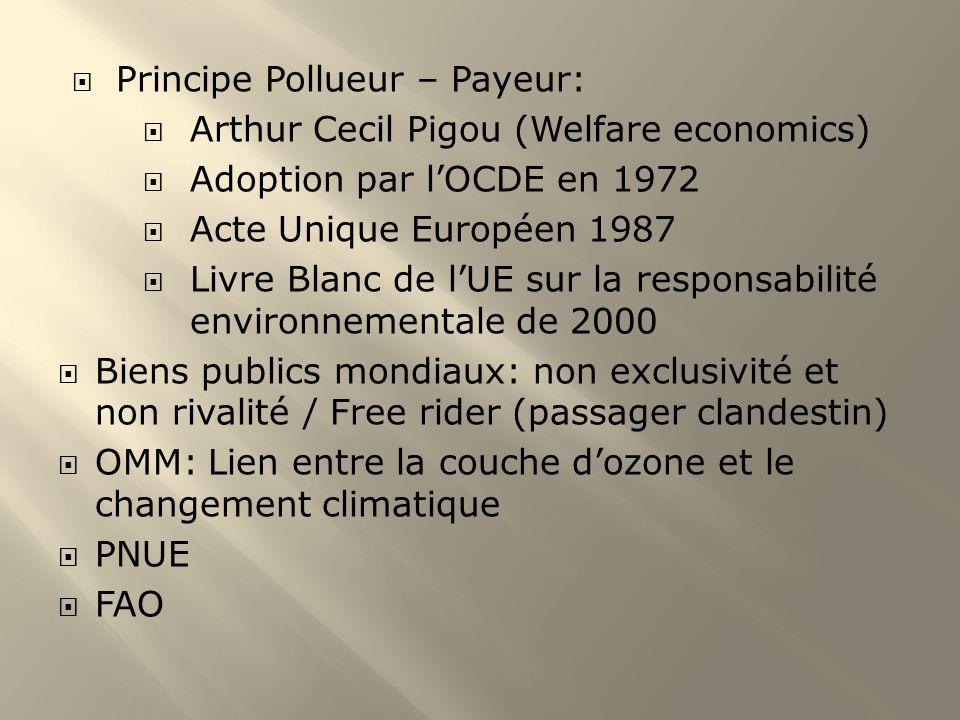 Principe Pollueur – Payeur: Arthur Cecil Pigou (Welfare economics) Adoption par lOCDE en 1972 Acte Unique Européen 1987 Livre Blanc de lUE sur la resp