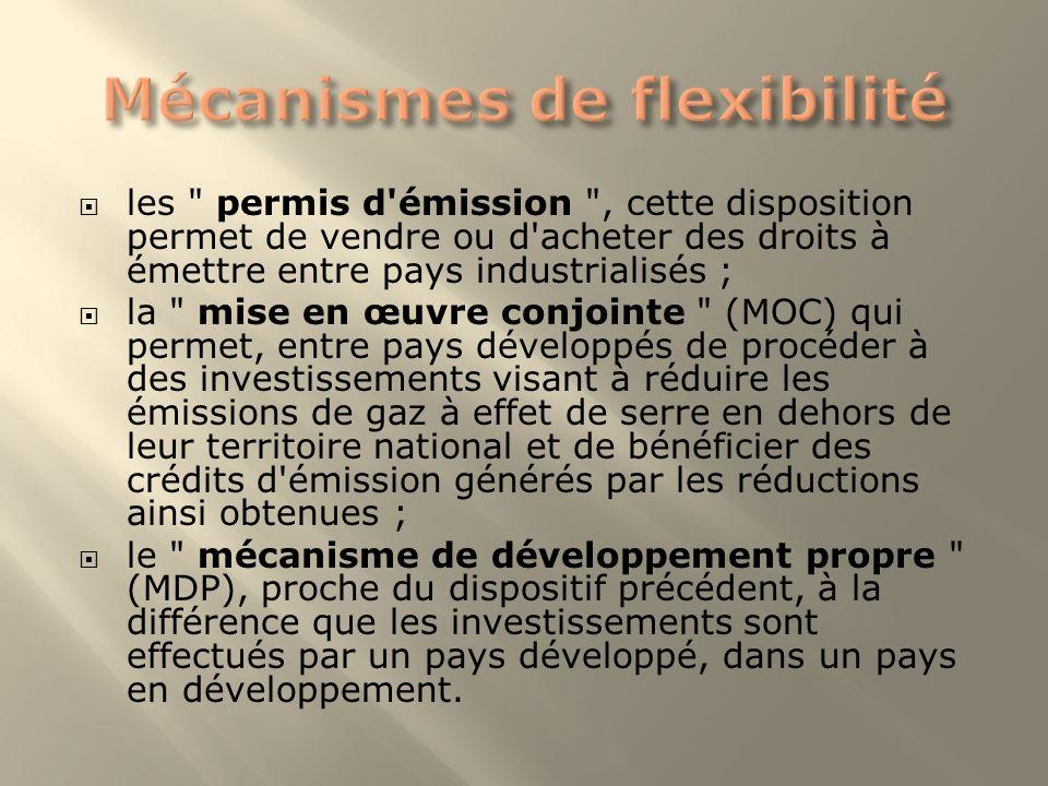 les permis d émission , cette disposition permet de vendre ou d acheter des droits à émettre entre pays industrialisés ; la mise en œuvre conjointe (MOC) qui permet, entre pays développés de procéder à des investissements visant à réduire les émissions de gaz à effet de serre en dehors de leur territoire national et de bénéficier des crédits d émission générés par les réductions ainsi obtenues ; le mécanisme de développement propre (MDP), proche du dispositif précédent, à la différence que les investissements sont effectués par un pays développé, dans un pays en développement.
