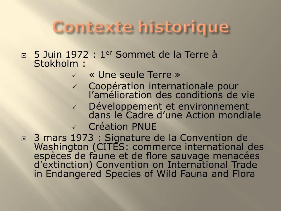 5 Juin 1972 : 1 er Sommet de la Terre à Stokholm : « Une seule Terre » Coopération internationale pour lamélioration des conditions de vie Développeme