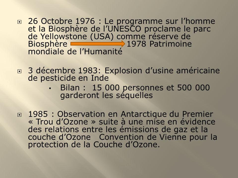 26 avril 1986 : Accident de Tchernobyl 16 décembre 1987 : Signature du Protocole de Montréal, accord sur la réduction de la production de gaz nocifs pour la couche dozone (modifié en 1990) 1988 : Incendie naturelle du Parc de Yellowstone (3000 hectares de forêt ravagée) 7 novembre 1990 : 2 ème conférence mondiale sur le Climat