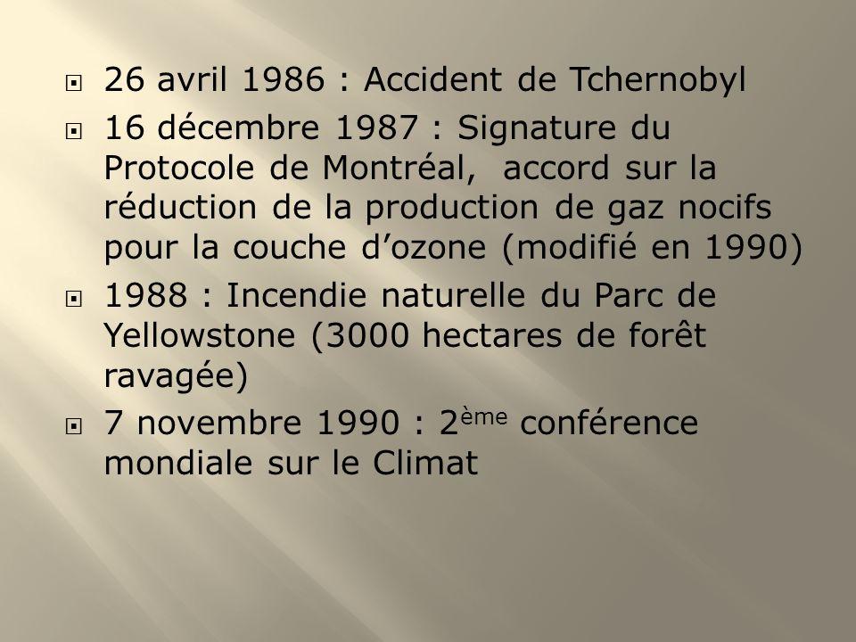26 avril 1986 : Accident de Tchernobyl 16 décembre 1987 : Signature du Protocole de Montréal, accord sur la réduction de la production de gaz nocifs p