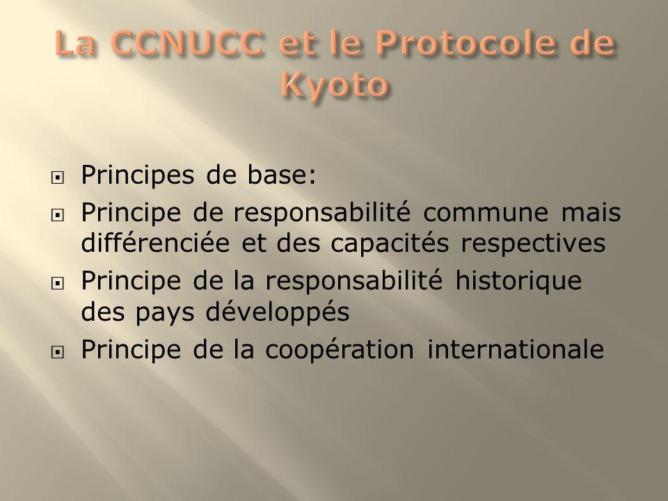 Principes de base: Principe de responsabilité commune mais différenciée et des capacités respectives Principe de la responsabilité historique des pays