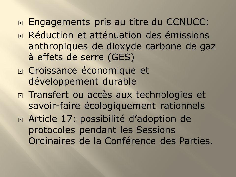 Engagements pris au titre du CCNUCC: Réduction et atténuation des émissions anthropiques de dioxyde carbone de gaz à effets de serre (GES) Croissance