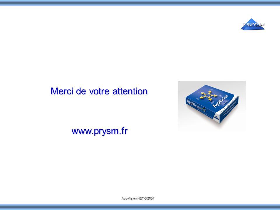 Merci de votre attention www.prysm.fr AppVision.NET © 2007