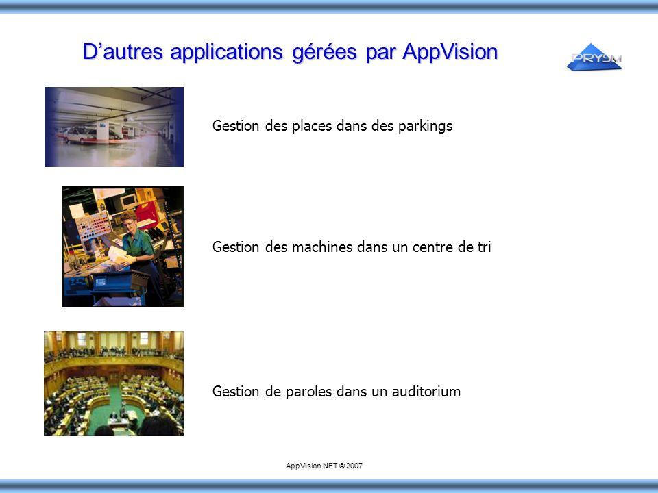 Dautres applications gérées par AppVision Gestion des places dans des parkings Gestion des machines dans un centre de tri Gestion de paroles dans un a