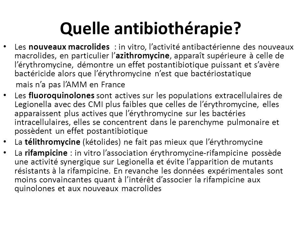 Quelle antibiothérapie? Les nouveaux macrolides : in vitro, lactivité antibactérienne des nouveaux macrolides, en particulier lazithromycine, apparaît