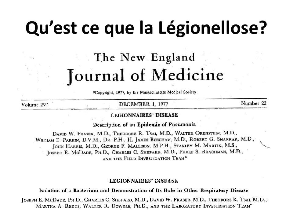 Quest ce que la Légionellose? Connue depuis lépidémie de 1976 survenue chez des combattants de lAmerican Legion réunis à Philadelphie Legionella : bac