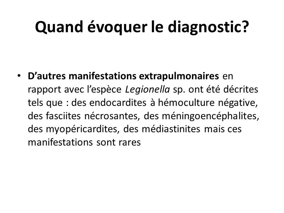 Quand évoquer le diagnostic? Dautres manifestations extrapulmonaires en rapport avec lespèce Legionella sp. ont été décrites tels que : des endocardit