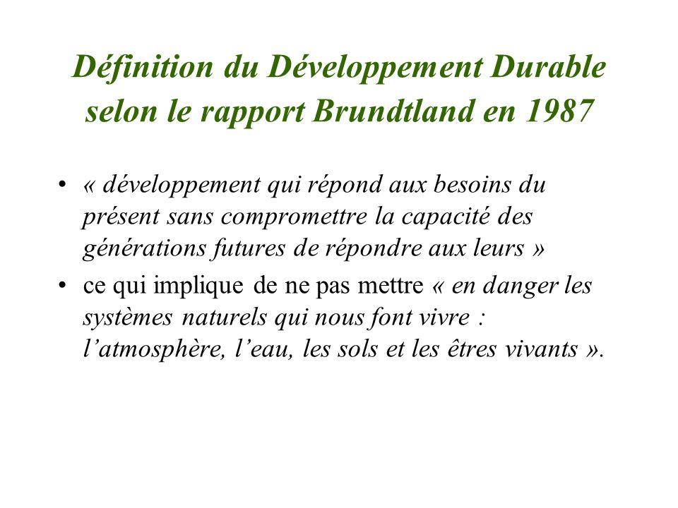 Définition du Développement Durable selon le rapport Brundtland en 1987 « développement qui répond aux besoins du présent sans compromettre la capacit