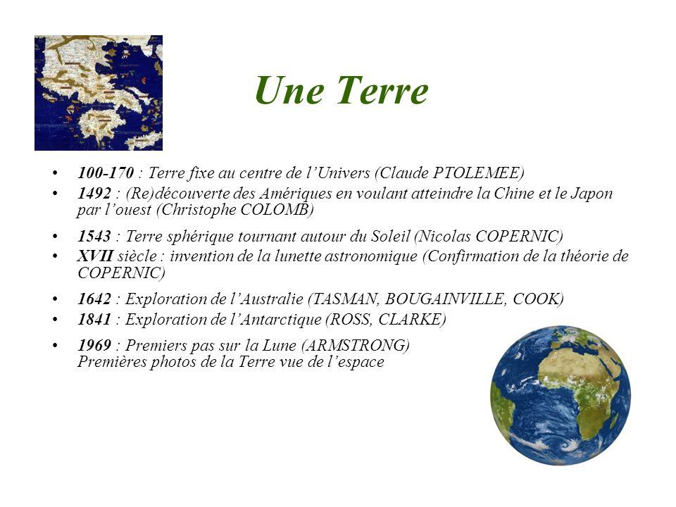 Une Terre 100-170 : Terre fixe au centre de lUnivers (Claude PTOLEMEE) 1492 : (Re)découverte des Amériques en voulant atteindre la Chine et le Japon p